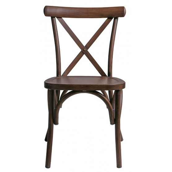 Brown X back chair