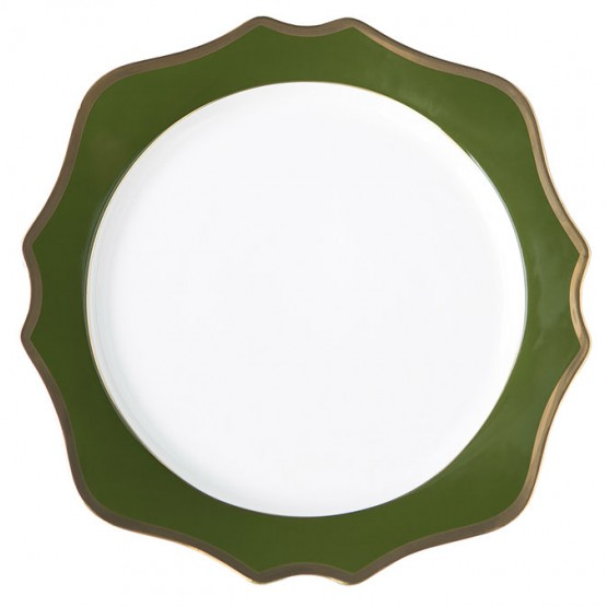 Green Charger Plate with gold rim